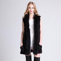 2014 Special new fashion women rabbit fox fur coat sleeveless long fur vest natural fur outwear luxury winter warm fur over coat