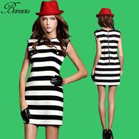 Cotton Stripped Dress  Vestido de Verao 2014 Casual Sleeveless Slim T Shirt Pencil Mini Dress