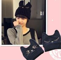 2014 fashion New Korean women Hats Harajuku style cute cat ears demon horns knitted wool chapeau female Korean tidal cap