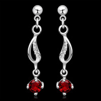 Wholesale!Hot sale fashion earrings,925 sterling silver Noble red crystal earrings,women jewelry E512