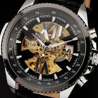 2014 new fashion watches men luxury brand steel case automatic roman skeleton mechanical leather strap relogio masculino