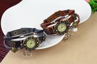 2 colors Popular Waches Women/girl  Leather wrist watch Dragonfly pendant fashion vintage quartz watch