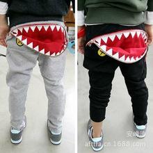 Hot selling Autumn 1 pcs Retail shark girls boys baby trousers infant pants Wear Harem Children Pants fashion Sweatpants(China (Mainland))