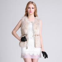 2014 new woman slim fox  fur O-neck fashion Sleeveless fur coat high-end vest fur genuine fox fur overcoat