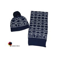New European and American Style Children Hat Children Scarf Rhombus Jacquard Brand Design Hat Scarf Two-piece Cotton Sets