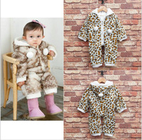 wholesale 5pcs/lot gril's clothes witner padded leopard prints hooded romper baby clothes ,thick infant clothes