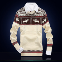 4M638 Brand New Men's Clothing 2014 Autumn O-neck Sweater Commercial Stripe Casual Knitted Slim Fit Men Sweater,Plus Size M-XXXL