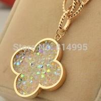 14k rose gold plated titanium steel clover  long necklace/50cm