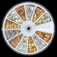 Mix shape Golden and Sliver 3D Alloy Studs Rviets Wheel Nail Art Decoration 27#