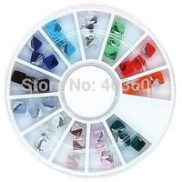 Mix Color 4mm Square Cube Crystal Rhinestones Wheel Nail Art Decoration 32#