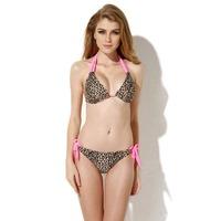 free shipping 2014 New hot   Sexy Leopard Triangle Top with Classic Cut Bottom Bikini Swimwear in Low Price Free Shipping