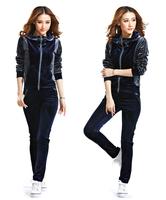 2014 autumn new M-XXL plus size women's high quality velvet sports tracksuit fashion casual velour hoodies set KLJ14002