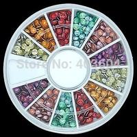 Mixed Colour 3D Rock Round Metal Studs Wheel Nail Art Decoration 26#