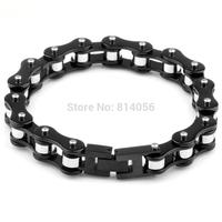 European men titanium steel men's bracelet genuine bike bicycle chain retail new stainless steel black and silver