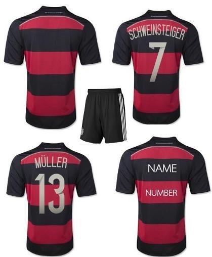New Fashion Men's 4 Stars Germany Black add Red Striped Jersey Football Shirt Away Uniforms Set+Logos(China (Mainland))