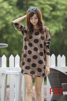 free shipping 2014 autumn women plus size warm dress dots printing winter dresses M L XL XXL 3XL 4XL 5XL 6xl vestidos