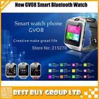 Cheapest Fashion sports Wrist watch GV08 Wireless Bluetooth 3.0 Smart Watch 1.3M pixel for smart phone Free Shipping