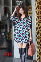 free shipping vestidos 2014 autumn winter women fashion dress plus size print dresses M L XL XXL 3XL 4XL 5XL f34
