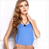2014 women's sleeveless vest candy-colored chiffon shirt chiffon sleeveless summer vest straps bottoming shirt