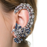 Fashion Jewelry Womens Earring High Quality Blue White Flower CZ Crystals Earring Jackets Dancer Stage Show Party Accessories