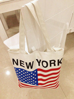 Free shipping New fashion America flag printed canvas bag shoulder bag special environmental protection bag