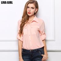 2014 new women's autumn lapel chiffon shirt big yards temperament shirt pocket chiffon shirt