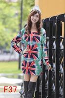 free shipping 2014 autumn winter women fashion union jack printing brand dress thin plus size M L XL XXL 3XL 4XL 5XL 6xl vestido