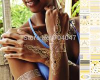 4pcs per lot popular temporary tattoo sticker 24 designs metal waterproof golden tattoos stickers