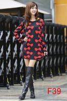 Free Ship 2014 women dresses autumn winter ladies fashion bow printing dress thin plus size M L XL XXL 3XL 4XL 5XL 6xl vestidos