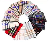 2014 fashion100% cashmere plaid scarf stripe male and female models brand 14 color cashmere scarf shawl