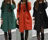 [J.C] 2014 NEW fashion women big plus size round neck loose long sleeve green red black dress L XL XXL XXXL