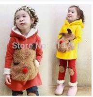 2014 Winter Children Clothing Set Kids Girl warm Cartoon Panda Fleece Hoodies Set Child Sweatshirt Set,hoodies+pants set suit