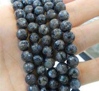 "(14pcs)Natural 6mm Faceted India Black Gray Labradorite Semi-precious stones Round Loose Beads 15""AAA"