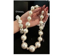 2014 big fresh water big pearl chain necklace,crystal ball pearl collar necklace bestfriend gift