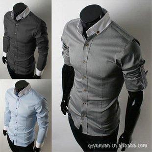 Free shipping 2014 New men's Casual Luxury Stylish Long Sleeve shirts Men Slim fit dress shirt Brazil Market hot selling shirt(China (Mainland))