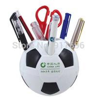 Custom advertising football plastic pen holder, advertising gift pen inserting bucket holder