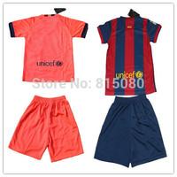 Top quality kids boy  SUAREZ   I.RAKITIC 4 MASCHERANO Soccer sport Jersey 14/15,Embroidery Logo  Soccer Shirt&short