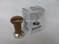 43mm wooden handle stainless steel coffee tamper