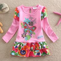 Girl Dress Vestidos Infantis Peppa Fashion New 1-6Y Kid Baby Cartoon Butterfly Girl Princess Long Sleeve One-piece Layered Dress