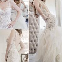 2014 New Coming Sexy Mermaid Scoop Neck Straps Lace Tulle Wedding Dresses Vestido De Novia
