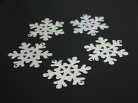 Free shipping, 50 pc snowflake sequins PVC laser sequins 65MM snowflake Christmas tree decoration, christmas interior decoration