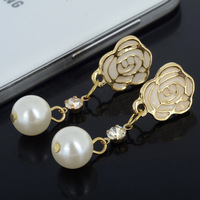 New Fashion Elegent Women Rose Crystal Pearl Pendant Gold/Silver Plated Drop Earrings Free Shipping