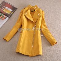 Free shipping U&Me Wholesale European and American new autumn and winter 2014 fashion PU sleeve women woolen coat jacket
