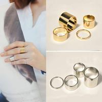 4pcs/set Shiny Punk Polish Gold Stack Plain Band Midi Mid Finger Knuckle Ring Set For Women Or Men
