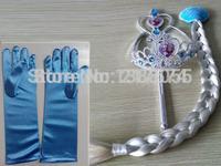 NEW Children Jewelry Set Frozen Crown + Frozen Magic Stickers + Wigs + Elsa Gloves Fashion Frozen Tiaras Sets