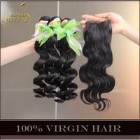 Unprocessed 6A Virgin Malaysian Loose Wave With Closure 4Pcs Lot Malaysian Body Wave Hair Lace Closure Natural Black Landot Hair
