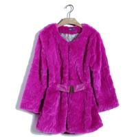 2014 winter leather fur new cardigan Rex Rabbit fur velvet waist Korean Girls long section of fur coat clothing