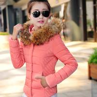 2014 Fashion Women's Down Parka Large Fur Collar Hooded Slim Warm Outerwear Winter Coats Women Down Jackets Free Shipping hf147