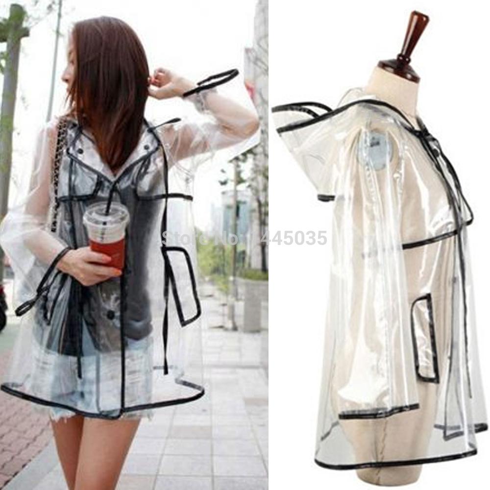 Transparent PVC Raincoat Runway Clear Rain Coat NY13(China (Mainland))