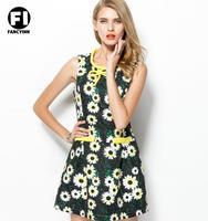 Fancyinn 2014 Europe Women Autumn New Brand Counter Vestidos Daisy Printed Sleeveless Vest Cute Casual Dress
